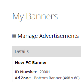 Manage Banners